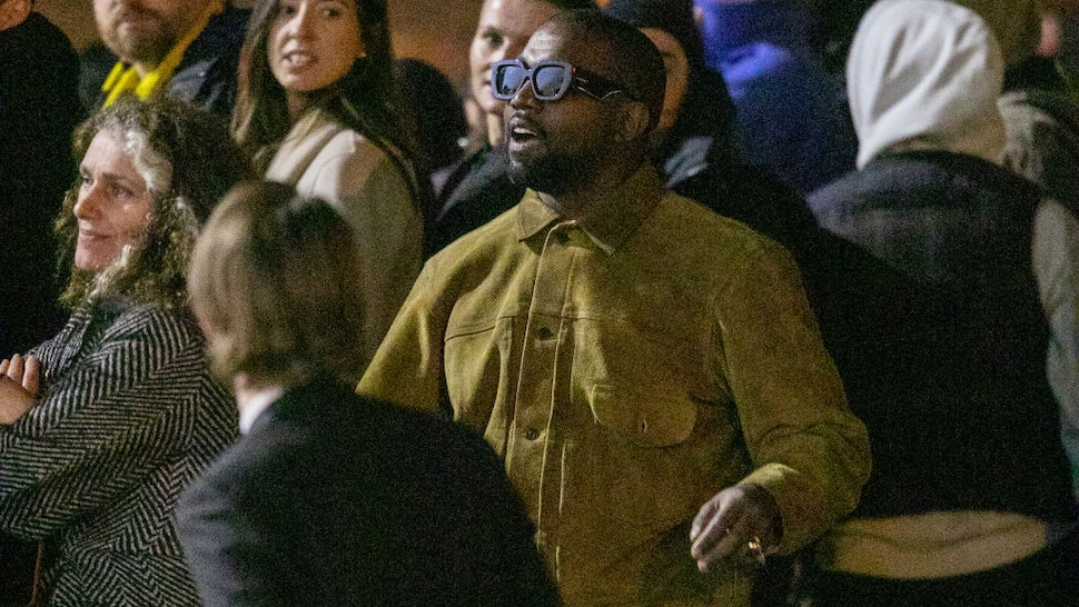 """Kanye West attends the """"Yeezy Season 8"""" show as part of the Paris Fashion Week Womenswear Fall/Winter 2020/2021 on March 02, 2020 in Paris, France."""