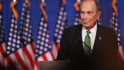 Former Democratic presidential candidate Mike Bloomberg addresses his staff and the media after announcing that he will be ending his campaign on March 04, 2020 in New York City.