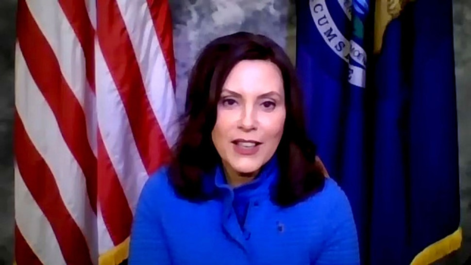 LATE NIGHT WITH SETH MEYERS -- Episode 989A -- Pictured in this screen grab: Gov. Gretchen Whitmer during an interview on May 18, 2020 --
