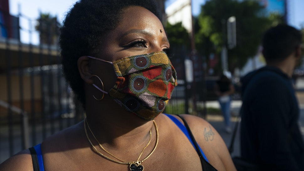 HOLLYWOOD, CA JUNE 7, 2020: Patrisse Cullors is one of the three co-founders of the Black Lives Matter movement. She participated in the peaceful march in Hollywood, CA today Sunday June 7, 2020. Thousands of people participated in todays peaceful protest against police sparked by the death of George Floyd. (Francine Orr/ Los Angeles Times via Getty Images)