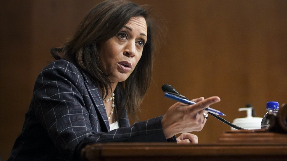 WASHINGTON, DC - JUNE 25: U.S. Sen. Kamala Harris (D-CA) speaks at a hearing of the Homeland Security Committee attended by acting U.S. Customs and Border Protection (CBP) Commissioner Mark Morgan at the Capitol Building on June 25, 2020 in Washington, DC. Morgan and President Donald Trump in Yuma, Arizona recently marked the 200th mile of the wall on the U.S.-Mexico border, an effort to control immigration touted in the president's 2016 presidential campaign. (Photo by Alexander Drago-Pool/Getty Images)