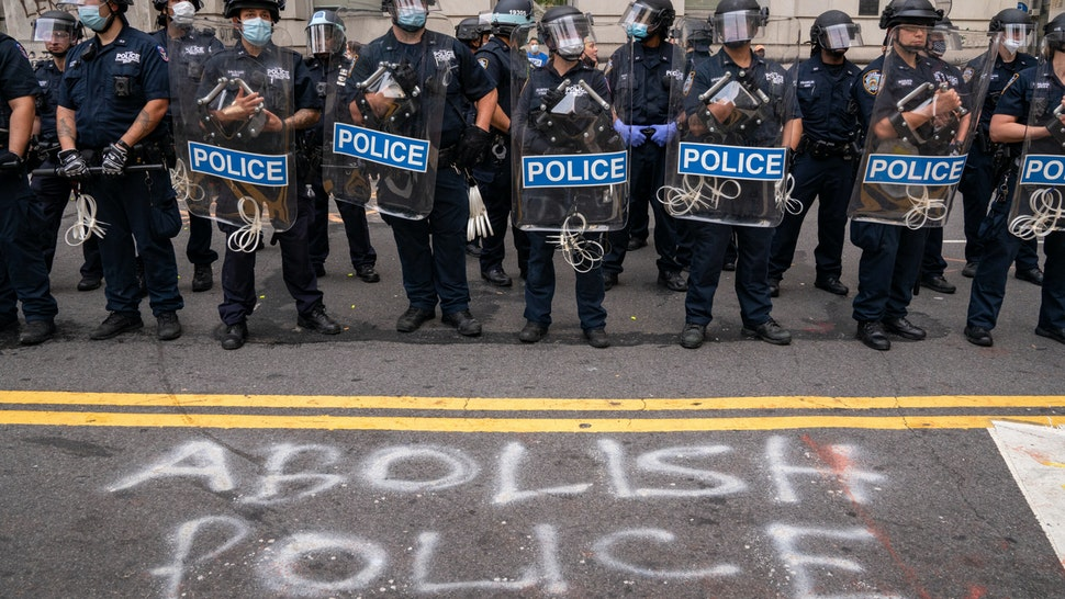 NEW YORK, NY - JULY 1: Protestors and police officers clash for the second morning in a row on July 1, 2020 in New York City. The growing group of protesters clashed with police in the early morning hours as tensions increase. Similar to the Occupy Wall Street movement that took over Zuccotti Park for months, the group is now making food, medical and information stations available to assist those protesters that want to stay. (Photo by David Dee Delgado/Getty Images)