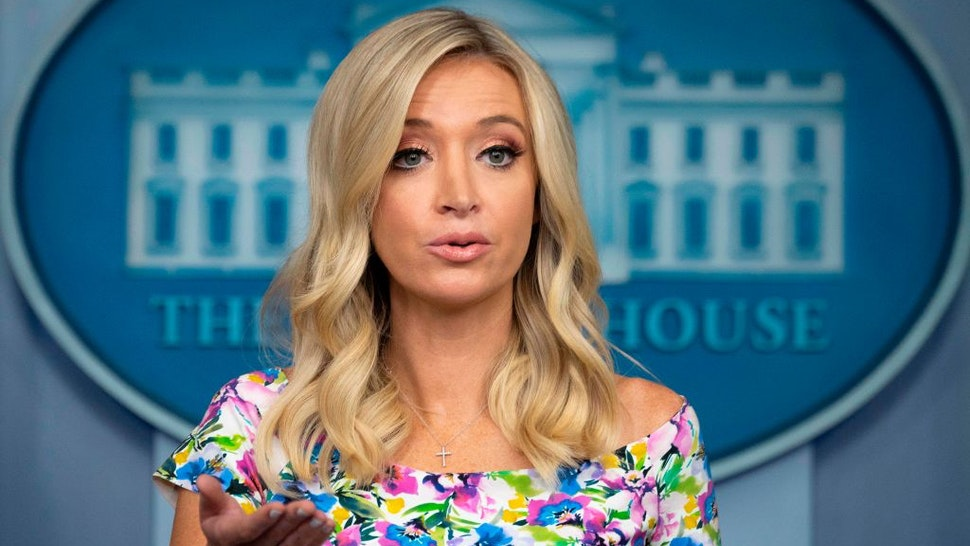 White House Press Secretary Kayleigh McEnany speaks during the press briefing at the White House in Washington, DC, on July 1, 2020.