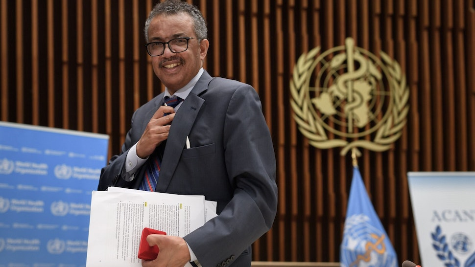 World Health Organization (WHO) Director-General Tedros Adhanom Ghebreyesus leaves a press conference organised by the Geneva Association of United Nations Correspondents (ACANU) amid the COVID-19 outbreak, caused by the novel coronavirus at WHO headquarters in Geneva on July 3, 2020. (Photo by Fabrice COFFRINI / POOL / AFP) (Photo by FABRICE COFFRINI/POOL/AFP via Getty Images)