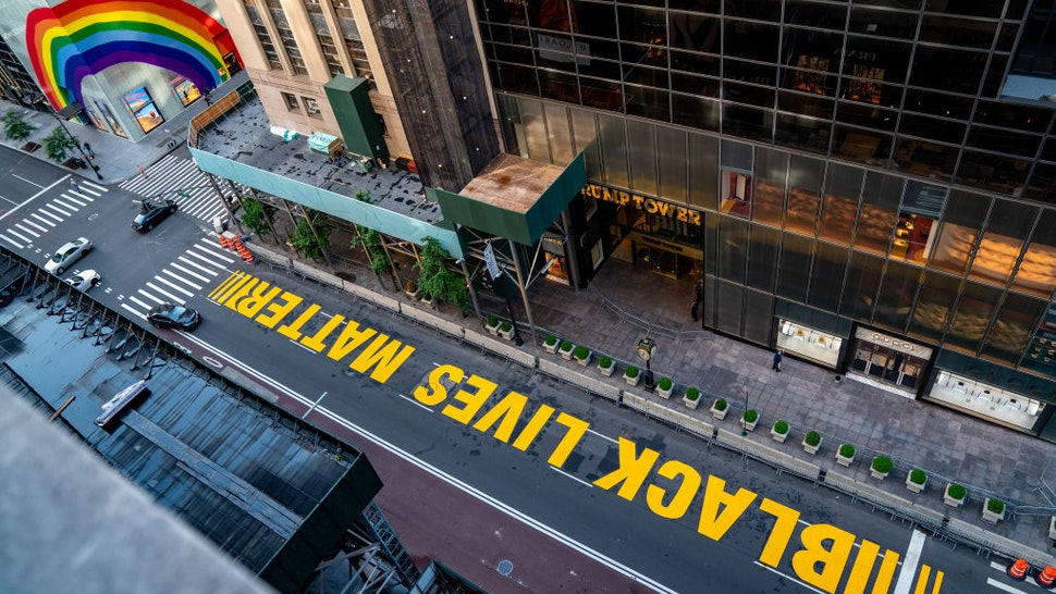 A Black lives Matter mural that was painted on 5th Avenue is seen directly in front of Trump Tower on July 13, 2020 in New York City.