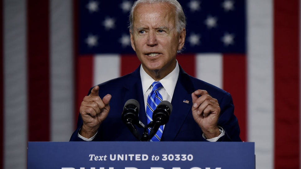 "Democratic presidential candidate and former Vice President Joe Biden speaks at a ""Build Back Better"" Clean Energy event on July 14, 2020 at the Chase Center in Wilmington, Delaware."