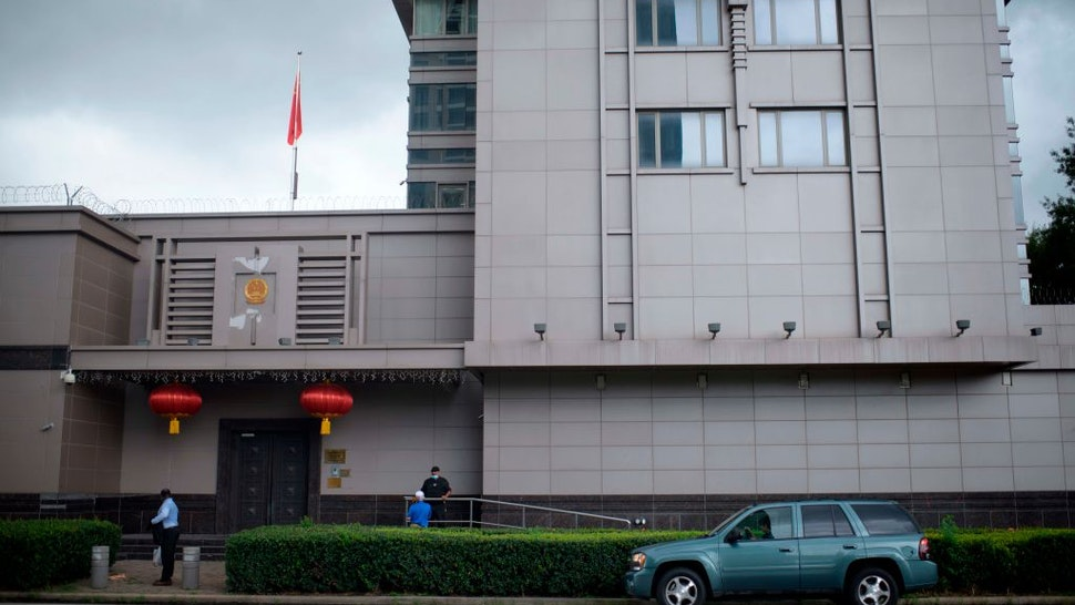 The Chinese flag flies outside of the Chinese consulate in Houston after the US State Department ordered China to close the consulate in Houston, Texas, July 22, 2020