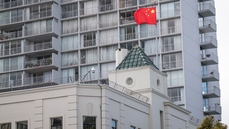 A Chinese flag flies outside the China Consulate General building in San Francisco, California, U.S., on Thursday, July 23, 2020.