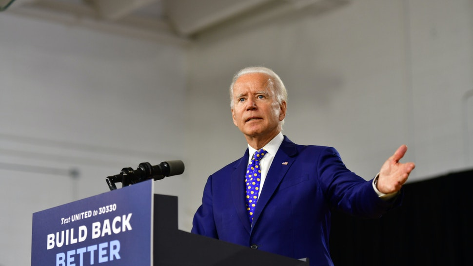 WILMINGTON, DE - JULY 28: Presumptive Democratic presidential nominee former Vice President Joe Biden delivers a speech at the William Hicks Anderson Community Center, on July 28, 2020 in Wilmington, Delaware. Biden addressed the fourth component of his Build Back Better economic recovery plan for working families, how his plan will address systemic racism and advance racial economic equity in the United States. (Photo by Mark Makela/Getty Images)