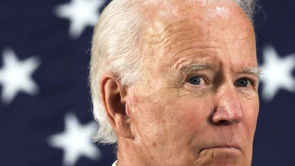 Democratic presidential candidate, former Vice President Joe Biden listens during a campaign event June 30, 2020 at Alexis I. Dupont High School in Wilmington, Delaware.