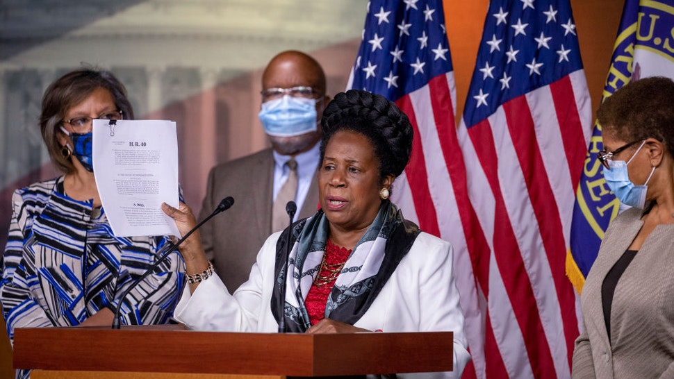 U.S. Rep. Sheila Jackson Lee (D-TX) speaks at a Congressional Black Caucus press conference on Capitol Hill on July 01, 2020 in Washington, DC.
