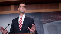 Sen. Tom Cotton (R-AR) attends a press conference announcing Senate Republicans' opposition to D.C. statehood on Capitol Hill July 01, 2020 in Washington, DC.