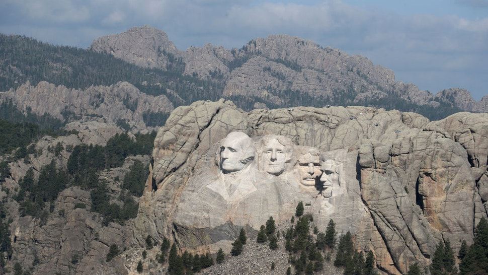 The busts of U.S. presidents George Washington, Thomas Jefferson, Theodore Roosevelt and Abraham Lincoln tower over the Black Hills at Mount Rushmore National Monument on July 02, 2020 near Keystone, South Dakota.