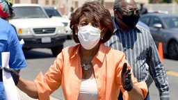Congresswoman Maxine Waters attends the #WONDALUNCH Fresh Produce and Poultry Drive Thru Giveaway on July 07, 2020 in Watts, California.