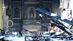SAN GABRRIEL, CA - JULY 11: The alter still stands after a four-alarm fire tore through the church at Mission San Gabriel destroying the inside of the 245-year-old building in San Gabriel on Saturday, July 11, 2020. (Photo by Keith Birmingham/MediaNews Group/Pasadena Star-News via Getty Images)