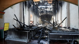 The inside of the church after a four-alarm fire tore through the church at Mission San Gabriel destroying the inside of the 245-year-old building in San Gabriel on Saturday, July 11, 2020.