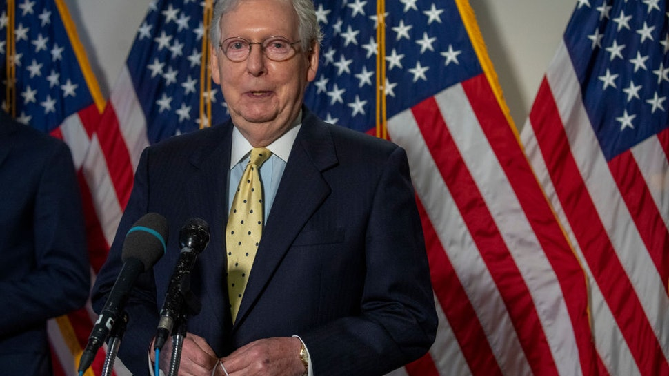 Senate Majority Leader Mitch McConnell (R-KY) speaks to the media after weekly policy luncheons on Capitol Hill July 21, 2020 in Washington, DC.