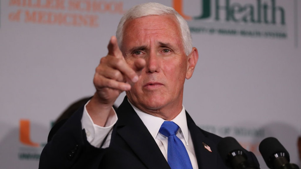 Vice President Mike Pence speaks during a press conference at the the University of Miami Miller School of Medicine on July 27, 2020 in Miami, Florida.