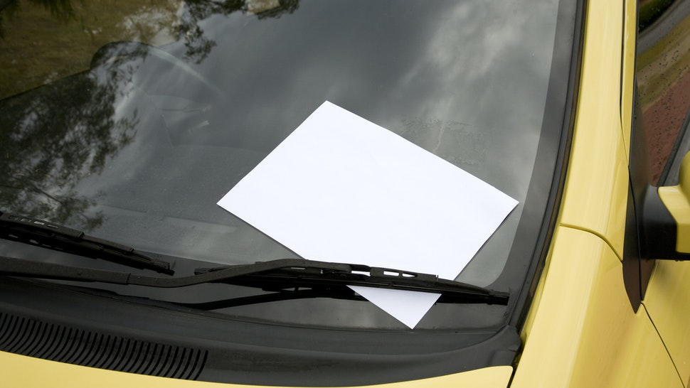 Blank Note on Windscreen. - stock photo