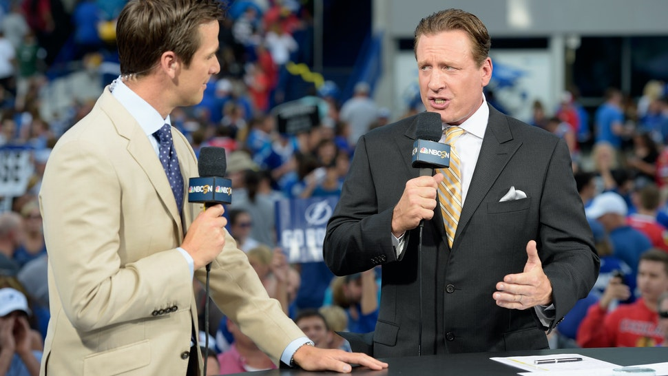 TAMPA, FL - JUNE 03: NHL on NBC on-air talent Dave Briggs and Jeremy Roenick discuss Game One of the 2015 NHL Stanley Cup Final between the Tampa Bay Lightning and the Chicago Blackhawks at Amalie Arena on June 3, 2015 in Tampa, Florida. (Photo by Bill Smith/NHLI via Getty Images)