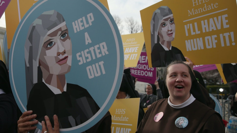 WASHINGTON, DC - MARCH 23: Nuns supporting Little Sisters of the Poor, attend a rally in front of the US Supreme Court, March 23, 2016 in Washington, DC. Today the high court heard arguments in Little Sisters v. Burwell, which will examine whether the governments new health care regulation will require the Little Sisters to change their healthcare plan, to other services that violate Catholic teaching. (Photo by Mark Wilson/Getty Images)