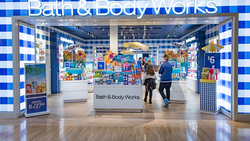 Bath & Body Works store entrance in mall: Store known for selling body products