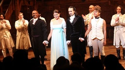 """Lin-Manuel Miranda performs his final performance as """"Alexander Hamilton"""" in """"Hamilton"""" on Broadway at The Richard Rogers Theatre on July 9, 2016 in New York City."""