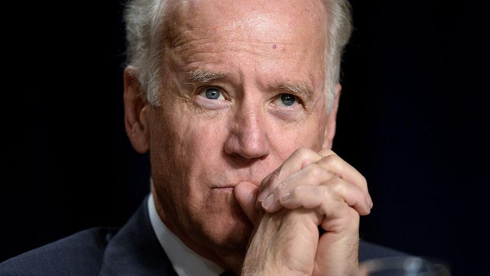 Vice-President Joe Biden attends the National Prayer Breakfast at the Washington Hilton February 6, 2014 in Washington, DC.