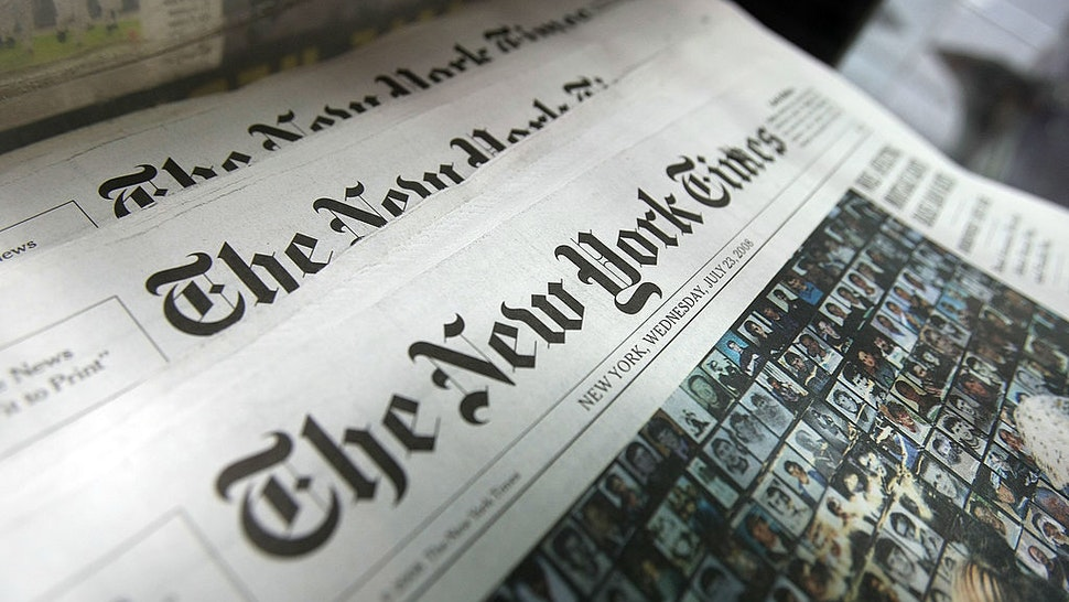 Copies of the New York Times sit for sale in a rack July 23, 2008 in New York City.