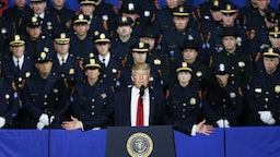President Donald Trump speaks at Suffolk Community College on July 28, 2017 in Brentwood, New York.