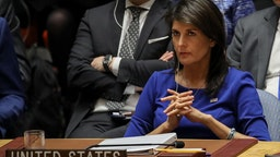 United States Ambassador to the United Nations Nikki Haley listens during a United Nations Security Council emergency meeting concerning the situation in Syria, at United Nations headquarters, April 14, 2018 in New York City.