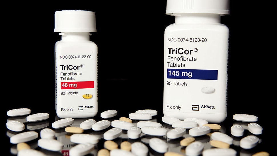 Abbott Laboratories' cholesterol drug TriCor sits on display at New London Pharmacy in New York, U.S., on Monday, Sept. 28, 2009.