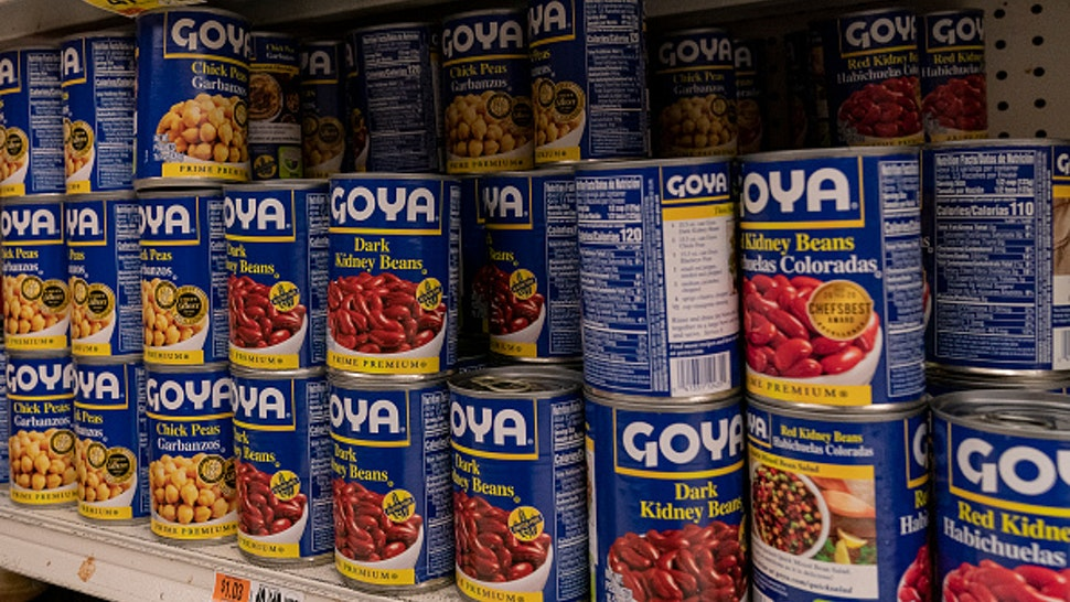 NEW YORK, UNITED STATES - 2020/07/10: Products by Goya Foods Company seen on shelves of Stop&Shop supermarket in the Bronx as company boycott takes off after Robert Unanue, CEO of Goya Foods, appeared in the White House Rose Garden and praised President Donald Trump. Hashtag #Goyaway is trending on social media since July 10, 2020. Unanue said he will not apologize and called the movement suppression of speech. He also claimed a double standard in the reaction to his remarks about President Trump reminding that he did similar event with Michelle Obama in 2012.