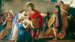 Vien Joseph Marie ( 1716 - 1809 ) The farewells of Hector and Andromache (oil on canvas 3; 29 X 4; 25) (Homere, l Iliad, song VI) Leaving for the Trojan War Hector leaves his wife and son Louvre Museum. (Photo by: Christophel Fine Art/Universal Images Group via Getty Images)