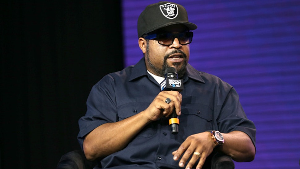 LOS ANGELES, CALIFORNIA - OCTOBER 27: Ice Cube speaks onstage during the REVOLT X AT&T Host REVOLT Summit In Los Angeles at Magic Box on October 27, 2019 in Los Angeles, California.