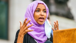 U.S. Rep. Ihan Omar (D-MN) speaks during a press conference on July 7, 2020 in St. Paul, Minnesota. A press conference was held by the Minnesota People of Color and Indigenous caucus to discuss work on the state and federal level to make systematic changes to address institutional racism.
