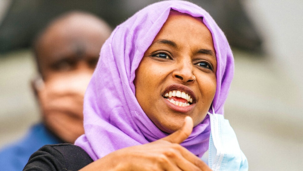 ST PAUL, MN - JULY 07: U.S. Rep. Ihan Omar (D-MN) speaks during a press conference on July 7, 2020 in St. Paul, Minnesota. A press conference was held by the Minnesota People of Color and Indigenous caucus to discuss work on the state and federal level to make systematic changes to address institutional racism.