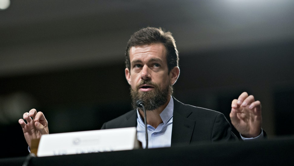 Jack Dorsey, co-founder and chief executive officer of Twitter Inc., speaks during a Senate Intelligence Committee hearing in Washington, D.C., U.S., on Wednesday, Sept. 5, 2018. Lawmakers from both sides of the aisle have increased pressure on technology companies on Russian interference in the 2016 presidential campaign and other election meddling as well as issues including alleged anti-conservative bias and antitrust questions.