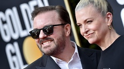 BEVERLY HILLS, CALIFORNIA - JANUARY 05: Ricky Gervais and Jane Fallon attend the 77th Annual Golden Globe Awards at The Beverly Hilton Hotel on January 05, 2020 in Beverly Hills, California.
