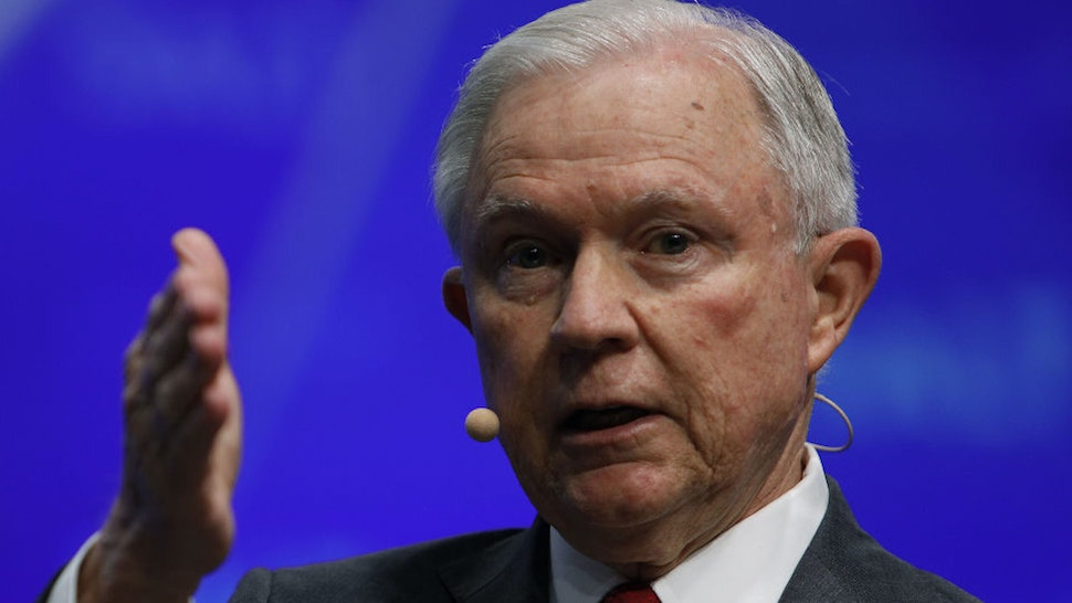 Jeff Sessions, U.S. attorney general, speaks during the Skybridge Alternatives (SALT) conference in Las Vegas, Nevada, U.S., on Wednesday, May 8, 2019. SALT brings together investors, policy experts, politicians and business leaders to network and share ideas to unlock growth opportunities in finance, economics, entrepreneurship, public policy, technology and philanthropy.
