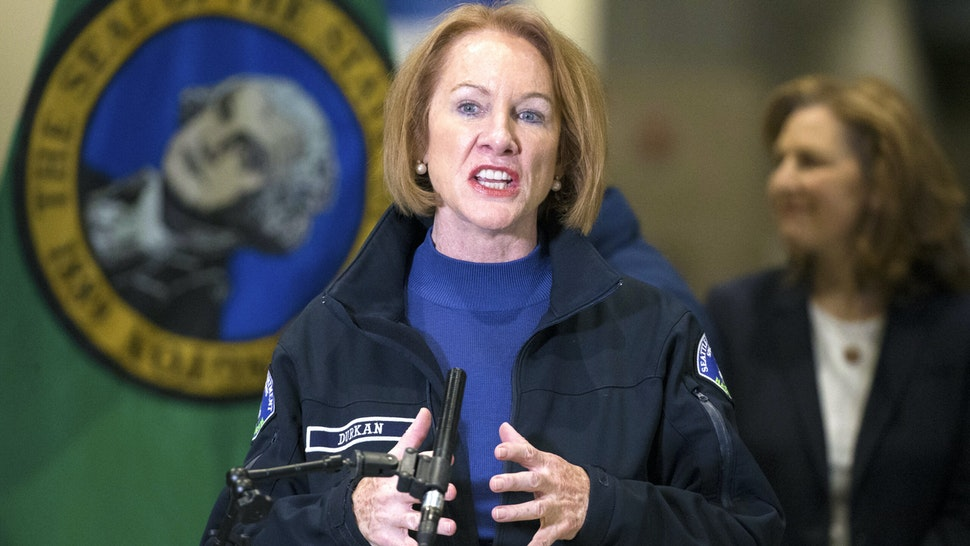 Seattle Mayor Jenny Durkan speaks at a press conference on March 28, 2020 in Seattle, Washington. The mayor and other leaders from Washington state discussed the deployment of a new field hospital at CenturyLink Field Event Center which is expected to create at least 150 hospital beds for non-COVID-19 cases and will include 300 soldiers from the 627th Army Hospital at Fort Carson, Colorado.