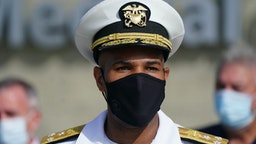 "Vice Admiral Jerome Adams, U.S. Surgeon General, wears a protective mask while speaking during a 'Wear A Mask' tour stop in Dalton, Georgia, U.S., on Thursday, July 2, 2020. Governor Kemp on Wednesday expressed his skepticism about the need for a statewide mask mandate and his reluctance to impose one, calling it an issue he feels is ""overpoliticized."""