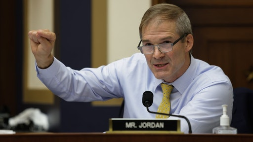 """WASHINGTON, DC - JULY 29: Congressman Jim Jordan (R-OH) speaks during an Antitrust, Commercial and Administrative Law Subcommittee hearing on """"Online platforms and market power. Examining the dominance of Amazon, Facebook, Google and Apple"""" on Capitol Hill on July 29, 2020 in Washington, DC. (Photo by Graeme Jennings - Pool/Getty Images)"""