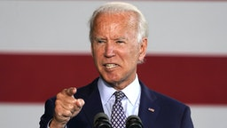 Democratic nominee for president Joe Biden gives a speech to workers after touring McGregor Industries in Dunmore, Pennsylvania on July 9, 2020.