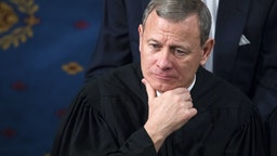 UNITED STATES - JANUARY 30: Supreme Court Chief Justice John Roberts listens to President Donald Trump's State of the Union address to a joint session of Congress on January 30, 2018.