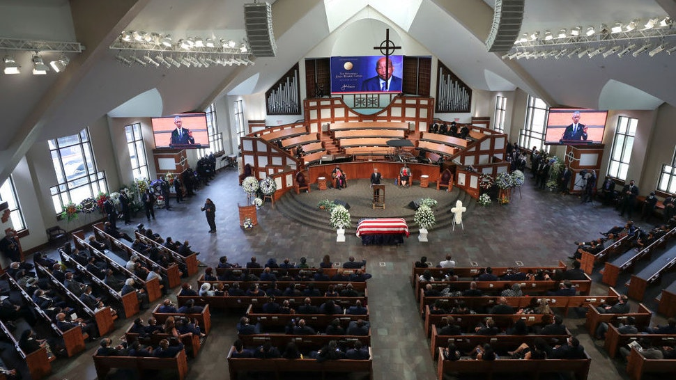 """Former President Barack Obama, addresses the service. On the sixth day of the """"Celebration of Life"""" for Rep. John Lewis, his funeral is held at Ebenezer Baptist Church in Atlanta, with burial to follow. Alyssa Pointer / alyssa.pointer@ajc.com"""