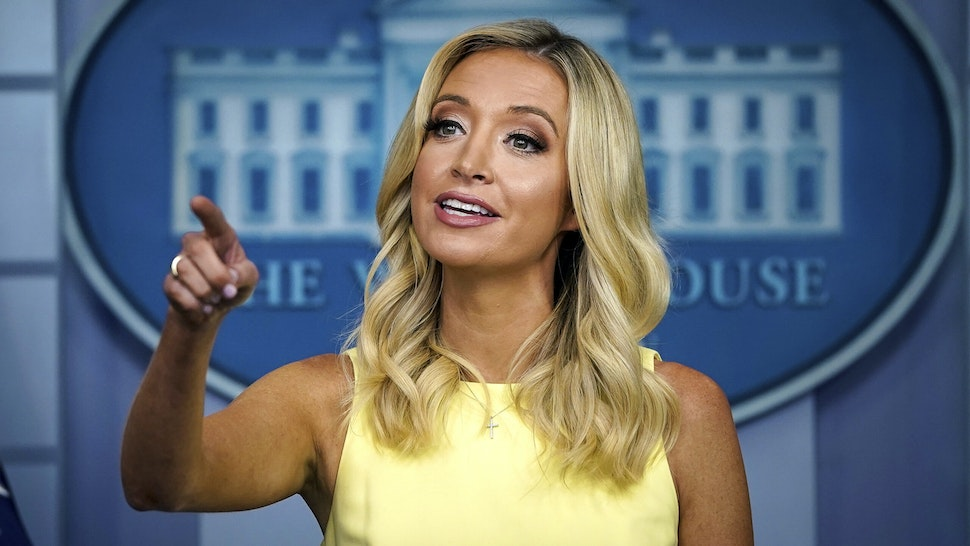 WASHINGTON, DC - JULY 16: White House Press Secretary Kayleigh McEnany speaks during a press briefing at the White House on July 16, 2020 in Washington, DC. On Thursday afternoon, President Trump will deliver remarks about rolling back regulations for businesses and infrastructure projects.