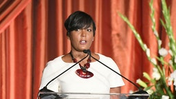 ATLANTA, GEORGIA - AUGUST 23: Atlanta mayor Keisha Lance Bottoms speaks onstage during the 10th Annual BronzeLens Film Festival Women Superstars Luncheon on August 23, 2019 in Atlanta, Georgia.