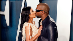 BEVERLY HILLS, CALIFORNIA - FEBRUARY 09: Kim Kardashian West and Kanye West kiss at the 2020 Vanity Fair Oscar Party at Wallis Annenberg Center for the Performing Arts on February 09, 2020 in Beverly Hills, California.