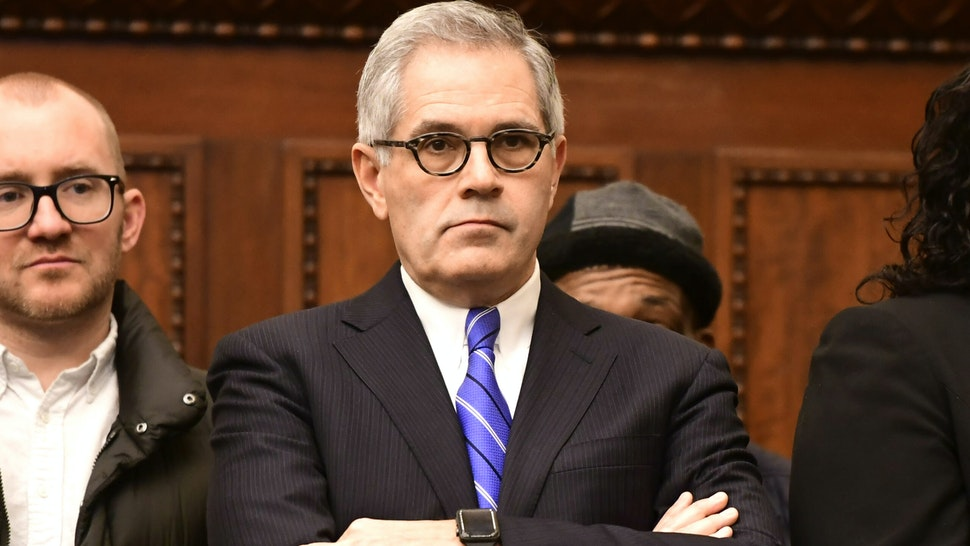 Philadelphia District Attorney Larry Krasner listens during a press conference announcing Danielle Outlaw as the new Police Commissioner on December 30, 2019 in Philadelphia, Pennsylvania. Outlaw, Philadelphia's first black female police commissioner, was previously the police chief in Portland, OR.
